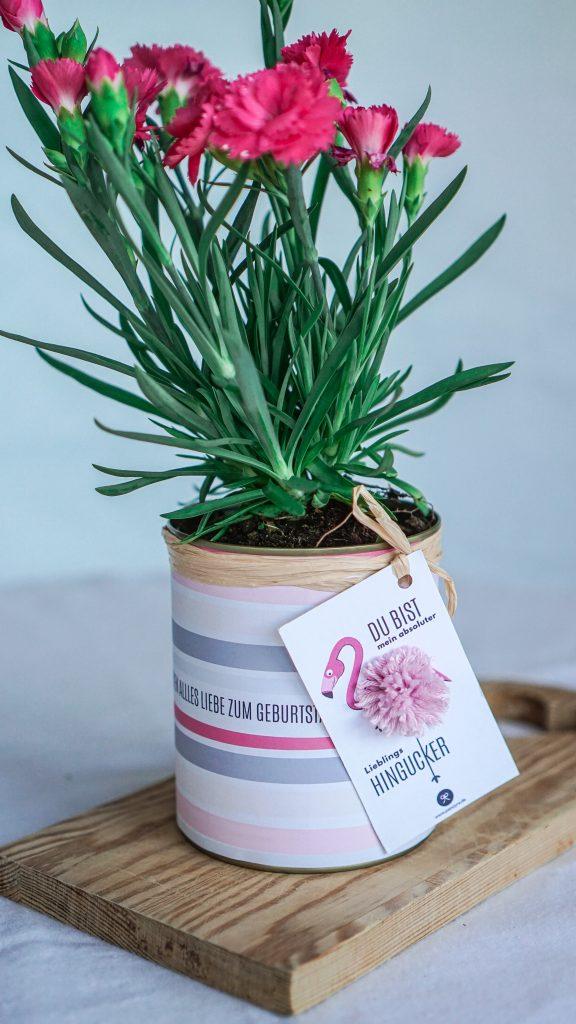 Geschenkanhänger mit Flamingo-Motiv an rosa Blumentopf aus Konservendose
