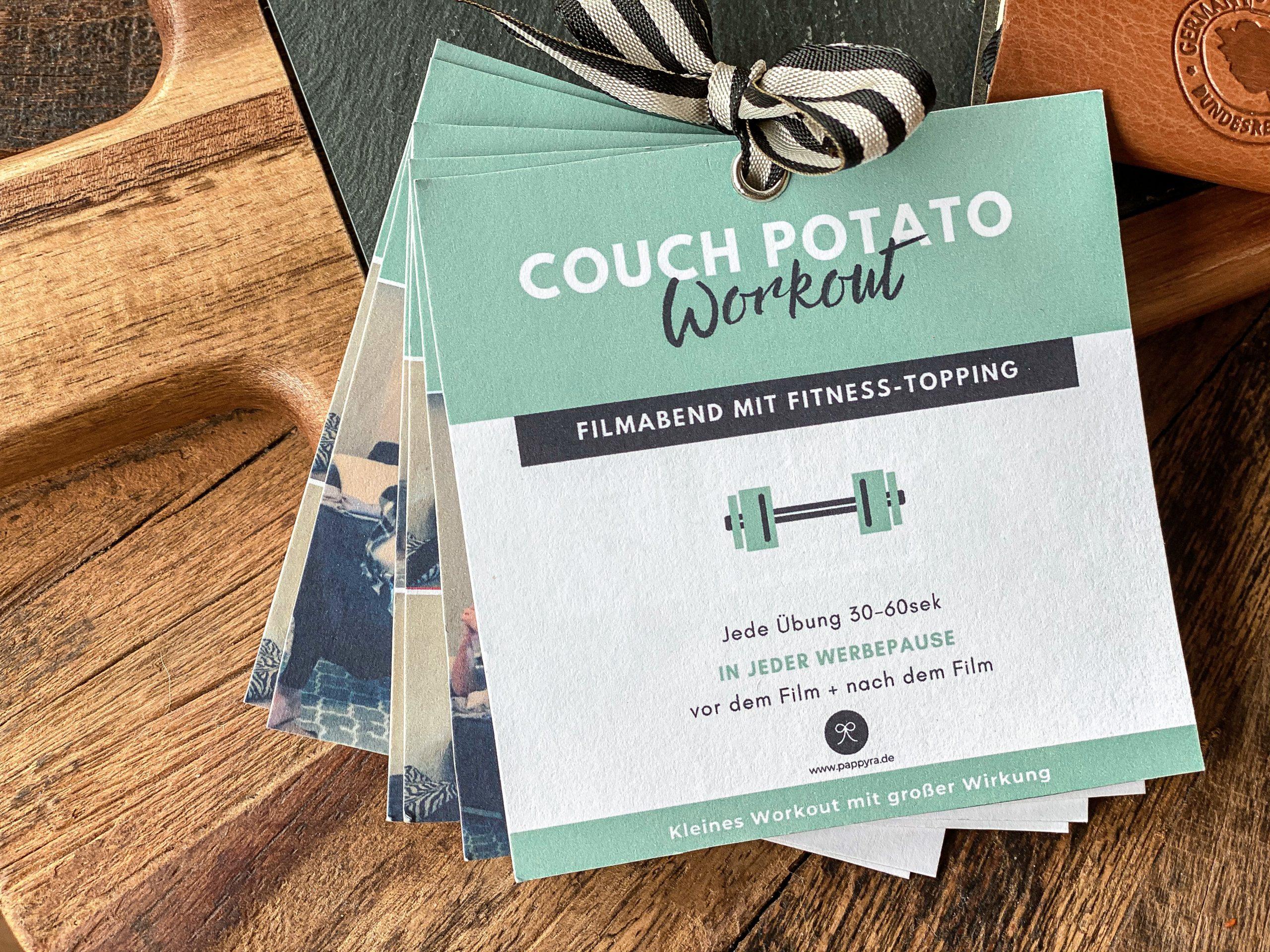 Couch Potato-Workout als Mitmachkarten für einen Filmabend.