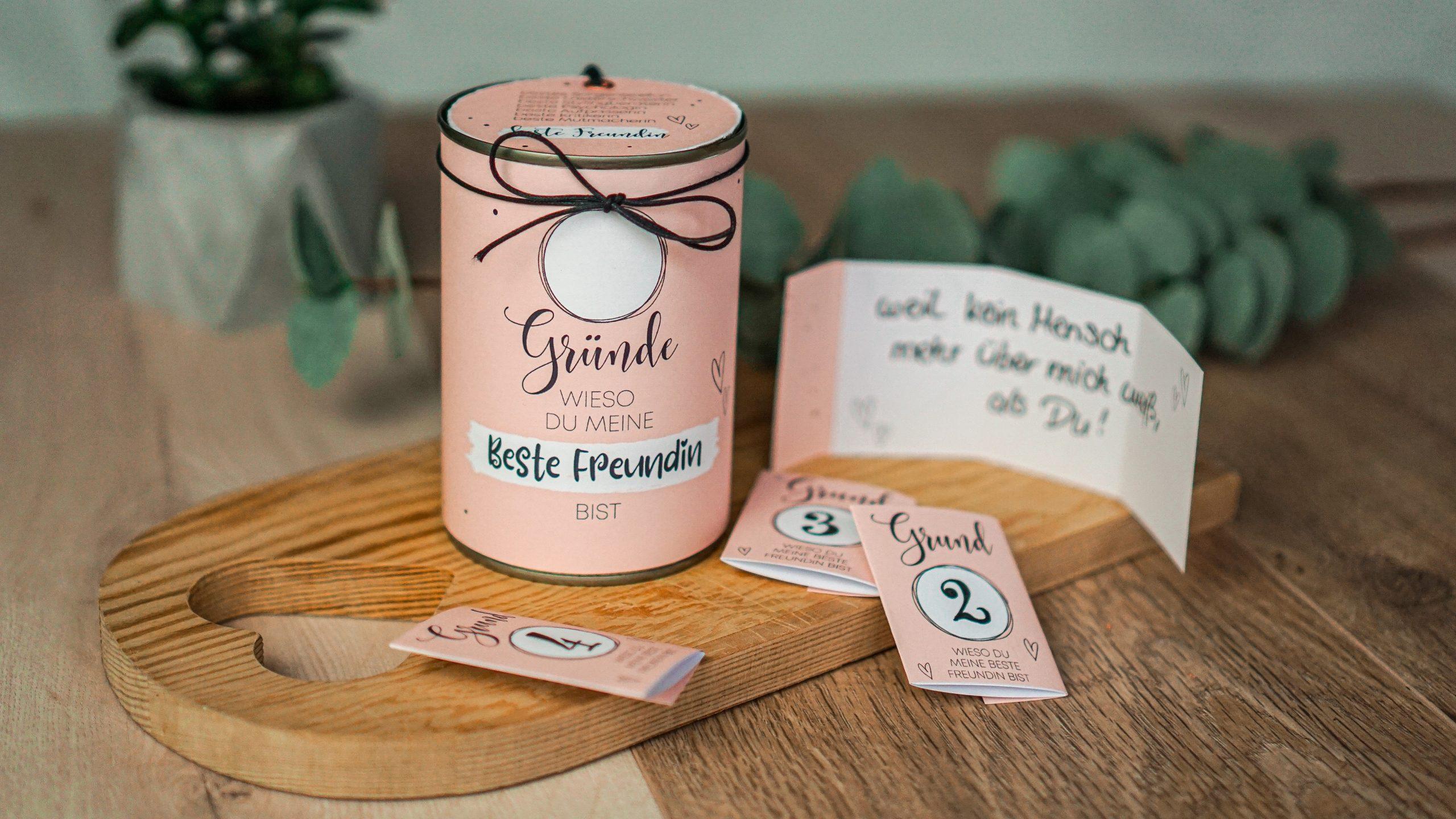 Upcycling geschenk aus alter Dose für beste Freundin