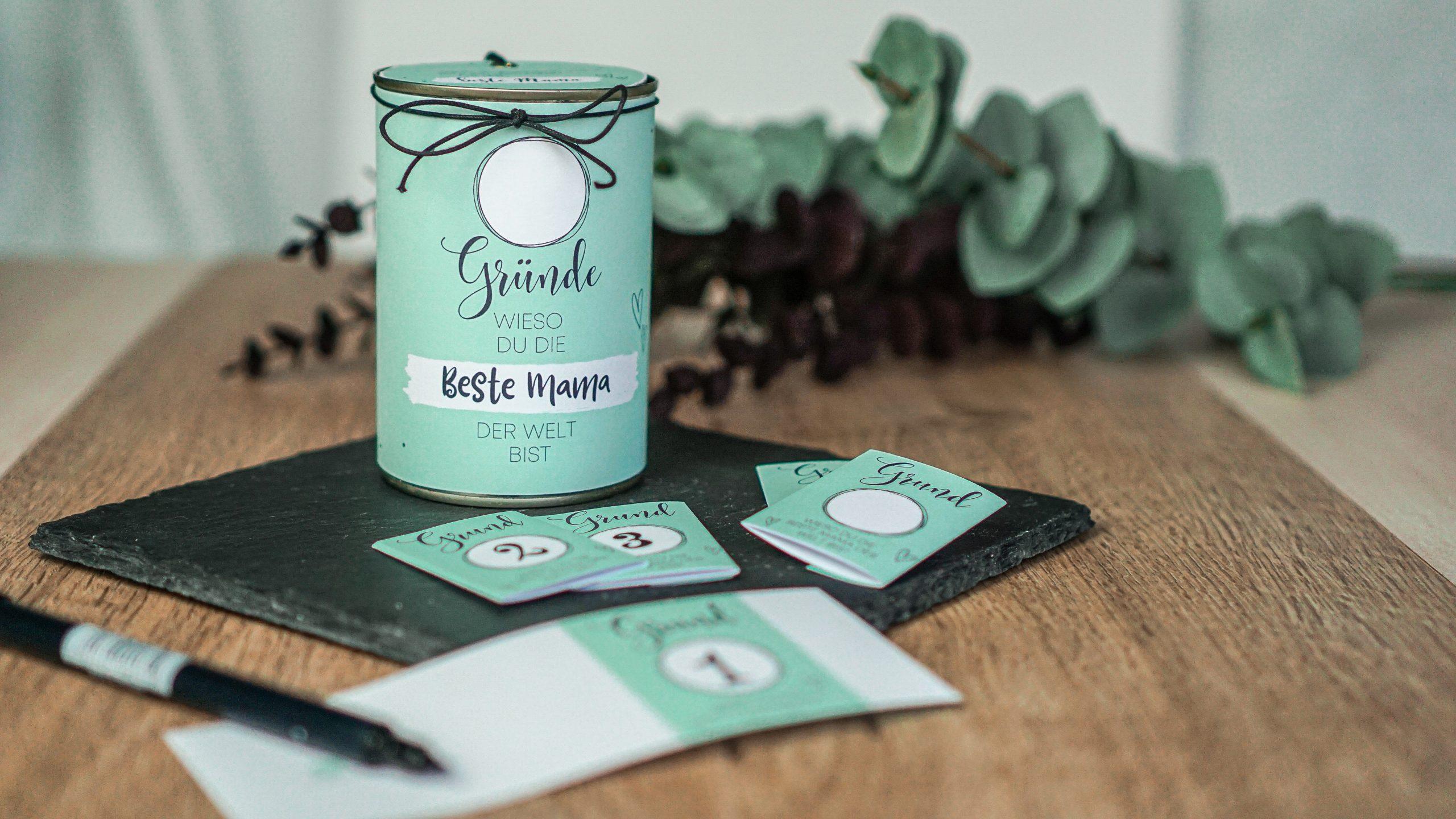 """Blechdose Variante """"beste Freundin"""" in mint-farben."""