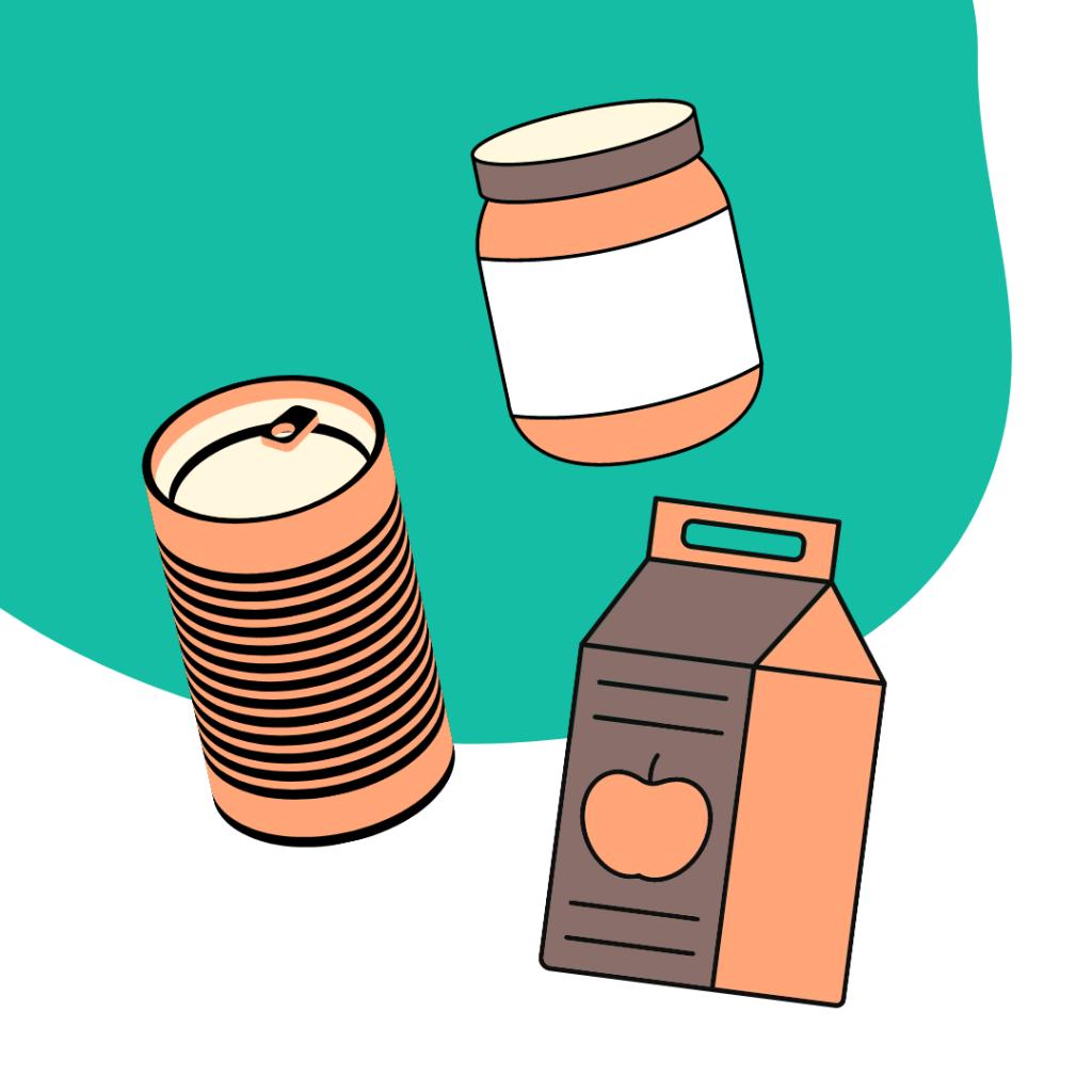 Konservendose, Einwegglas oder Tetrapak.