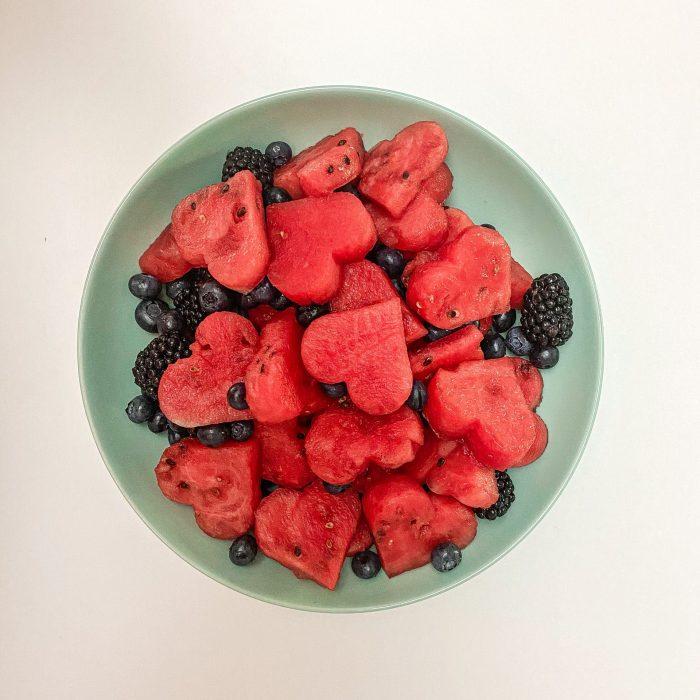 Wassermelonen Plätzchen in Herzform